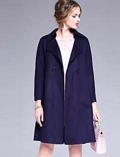 Dámské Jednobarevné Běžné/Denní Jednoduché Kabát-Vlna Podzim Zima Košilový límec Dlouhý rukáv Modrá Tlusté