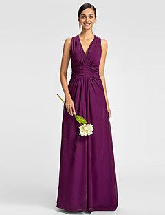 Lanting Bride® Floor-length Chiffon Mini Me Bridesmaid Dress - A-line V-neck Plus Size / Petite with Side Draping / Ruching
