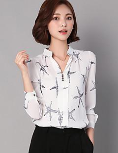 Camicia Da donna Casual Moda città Per tutte le stagioni,Con stampe Colletto alla coreana Rayon / Poliestere Blu / Bianco / NeroManica
