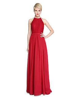 2017 Lanting Bride® Floor-length Chiffon Lace Elegant Bridesmaid Dress - Sheath / Column Jewel with Lace Sash / Ribbon