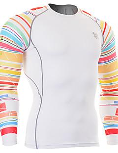 男性用 ランニングTシャツ 長袖 高通気性 トップス のために エクササイズ&フィットネス ランニング スパンデックス タイト レッド/ホワイト M L XL XXL XXXL
