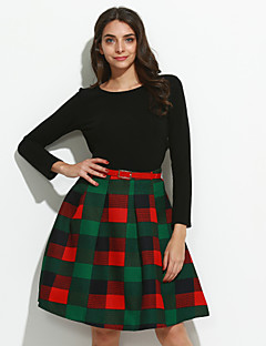 Women's Going out Street chic Fall Set SkirtPlaid Round Neck Long Sleeve Green Polyester Medium