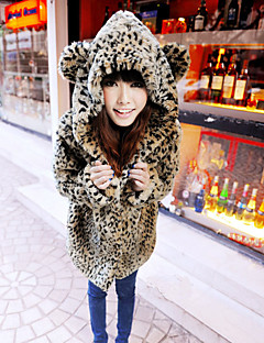 Women's Going out Cute Fur Coat,Leopard Long Sleeve Fall Brown Faux Fur Medium Thick