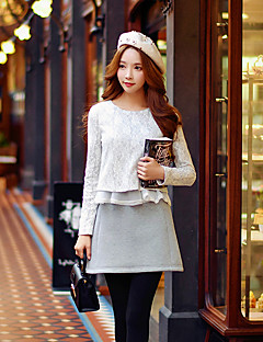 Women's Going out Casual/Daily Holiday Cute Street chic Sophisticated Spring Fall T-shirt,Solid Patchwork Round Neck Long Sleeve Gray