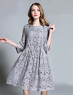 Women's Going out Casual/Daily Vintage A Line Lace Dress,Floral Round Neck Knee-length ¾ Sleeve Black Gray Cotton Spring Mid Rise