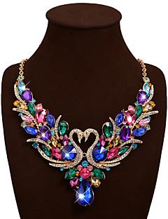Women's Statement Necklaces Bib necklaces Animal Shape Swan Gemstone Rhinestone Alloy Bohemian Statement Jewelry Luxury Fashion Costume