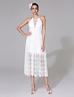 2017 Lanting Bride® Sheath / Column Wedding Dress - Chic & Modern See-Through Wedding Dresses Tea-length Jewel Lace with Lace