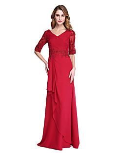 Lanting Bride® Strak/kolom Bruidsmoederjurken - Blote rug Elegant Tot de grond Halve mouw Chiffon  - Appliqués Kralen Kruiselings