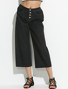 Women's Solid Black Wide Leg Pants,Vintage