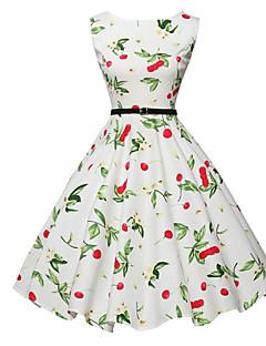 Trapèze Robe Femme Sortie Vintage,Fleur Col Arrondi Midi Sans Manches Blanc Coton Automne Taille Normale Micro-élastique Moyen