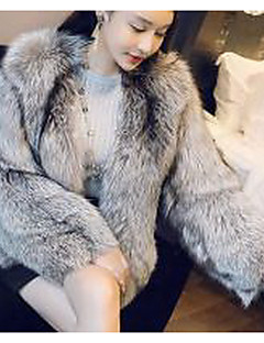 Women's Going out Sexy Fur Coat,Solid V Neck Long Sleeve Winter Silver Faux Fur Thick