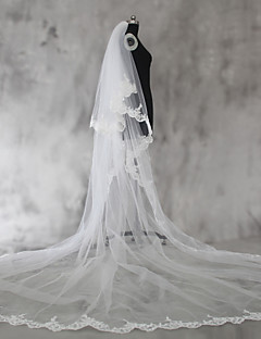 Wedding Veil Two-tier Shoulder Veils Elbow Veils Fingertip Veils Chapel Veils Cathedral Veils Lace Applique Edge Tulle Lace With Comb