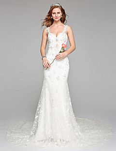 LAN TING BRIDE Sheath / Column Wedding Dress Simply Sublime Floor-length Straps Lace Tulle with Beading Lace
