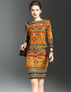 Women's Going out Street chic Spring T-shirt Skirt Suits,Print Round Neck Long Sleeve Orange Polyester Medium
