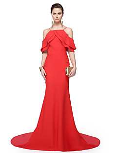 2017 TS Couture® Formal Evening Dress - Elegant Sheath / Column Spaghetti Straps Floor-length Chiffon with Pleats