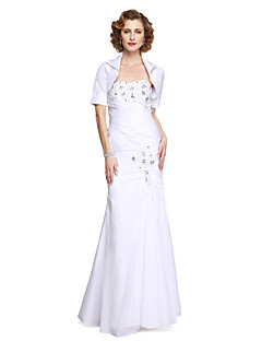 LAN TING BRIDE Trumpet / Mermaid Mother of the Bride Dress - Elegant Two Pieces Floor-length Sleeveless Stretch Satin withAppliques