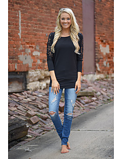 Women's Going out Casual/Daily Simple T-shirt,Solid Round Neck Long Sleeve Black Gray Others