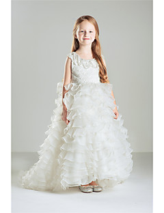 Princess Floor-length Flower Girl Dress - Cotton Organza Sleeveless Jewel with Beading Lace