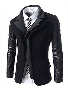 Masculino Casaco Casual Moda de Rua Inverno, Sólido Preto Cinza Algodão Colarinho de Camisa-Manga Longa Média