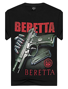 Kortærmet Rund hals Herre Sort Trykt mønster Simpel Aktiv Punk & Gotisk Strand Natklub Ferie T-shirt,Bomuld Spandex