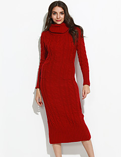 Women's Casual/Daily Simple Long Dress,Solid Red Turtleneck Long Sleeve Cotton Fall Winter Medium Micro-elastic