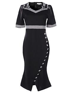 Women's Asymmetrical Casual/Daily Simple Skater DressSolid V Neck Midi Short Sleece Black Cotton Summer Mid Rise Inelastic Medium