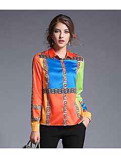 Women's Going out Casual/Daily Sexy Spring Fall Shirt,Camouflage Deep U Long Sleeve Multi-color Polyester Opaque