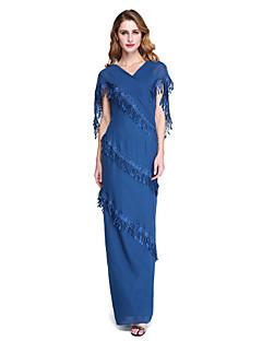 Lanting Bride® Футляр Платье для матери невесты - Элегантный стиль В пол Без рукавов Шифон  -  Кисти