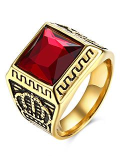 Pánské Prsten Přizpůsobeno Evropský bižuterie Nerez Titanová ocel Sklo Crown Shape Šperky Pro Párty Denní Ležérní