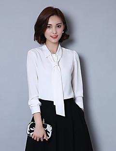 Women's High Qaulity Shirt Collar Solid Bow Career OL Work White Plus/Big Size Chiffon Shirt