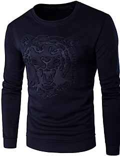 Men's Sports Active Simple Sweatshirt Leopard Round Neck Micro-elastic Cotton Long Sleeve Spring Fall