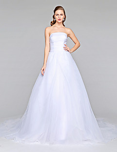 2017 Lanting Bride® A-line Wedding Dress - Classic & Timeless Open Back Chapel Train Strapless Organza with Bow Button Side-Draped