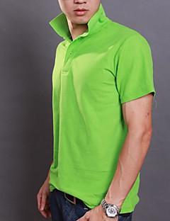 Masculino Polo Casual Simples Verão,Sólido Colorido Algodão Colarinho de Camisa Manga Curta