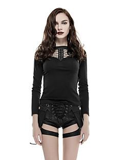 Damen Solide Punk & Gothic Lässig/Alltäglich T-shirt,Rundhalsausschnitt Frühling Herbst Langarm Schwarz Baumwolle Elasthan Dünn