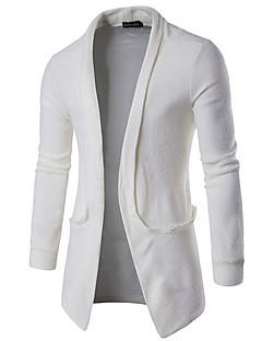 Men's Casual/Daily Simple Regular Cardigan,Solid White Black Brown Gray V Neck Long Sleeve Cotton Spring Medium Micro-elastic
