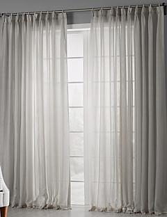 Două Panouri Tratamentul fereastră Țara , Solid Dormitor Poliester Material Sheer Perdele Shades Pagina de decorare For Fereastră
