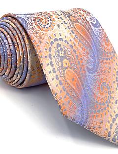 Для мужчин Винтаж Очаровательный Для вечеринки Для офиса На каждый день Галстук,Искусственный шёлк Узор пейсли (огурцы),ОранжевыйВсе