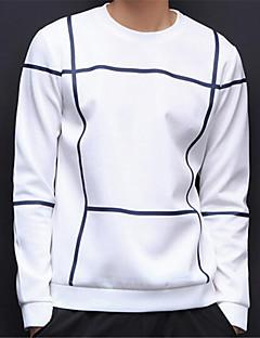 Herre Afslappet/Hverdag Simpel Plusstørrelser Sweatshirt Farveblok Rund hals Bomuld Polyester Mikroelastisk Langærmet Forår Efterår
