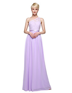 2017 Lanting Bride® Floor-length Chiffon Elegant Bridesmaid Dress - Sheath / Column One Shoulder with Appliques Sash / Ribbon Pleats