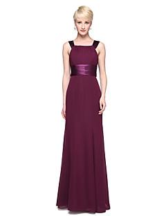 Lanting Bride® עד הריצפה שיפון סאטן נמתח אלגנטי שמלה לשושבינה  - מעטפת \ עמוד מרובע עם פפיון(ים) סרט קפלים