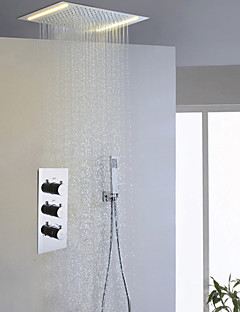 Contemporary Bath Shower Faucet Set / Alternating Current Energy Saving LED Bathroom Shower Head / Large Water Flow Mixer Valve