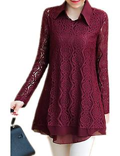 Langærmet Krave Medium Dame Rød Sort Ensfarvet Alle årstider Sexet Vintage Sofistikerede I-byen-tøj Formelle Arbejde Skjorte,Andet