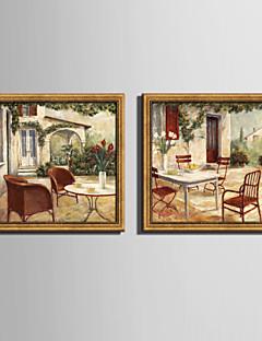 E-HOME® Framed Canvas Art Garden Rest Framed Canvas Print Set One Pcs