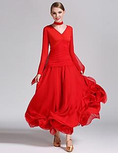Ballroom Dance Dresses Women's Performance Chiffon Milk Fiber Pleated 2 Pieces Long Sleeve Natural Dress Neckwear
