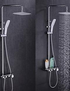 現代風 バスタブとシャワー サーモスタットタイプ with  セラミックバルブ シングルハンドル二つの穴 for  クロム , シャワー水栓