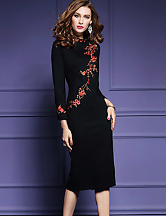 Women's Embroidery Plus Size Going out Chinoiserie Bodycon Dress,Embroidered Split Round Neck Midi Long Sleeve Polyester Black Spring Fall Mid Rise