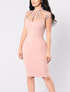 Women's Casual/Daily Club Simple Street chic Sheath DressSolid Cut Out Over Hip Slim Crew Neck Above Knee Short Sleeve