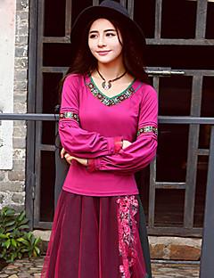 Dámské Výšivka Jdeme ven Čínské vzory Tričko-Jaro Podzim Bavlna Spandex Srdcový výstřih Dlouhý rukáv Střední