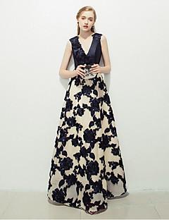포멀 이브닝 드레스 - 패턴 드레스 A-라인 V-넥 바닥 길이 레이스 와 레이스