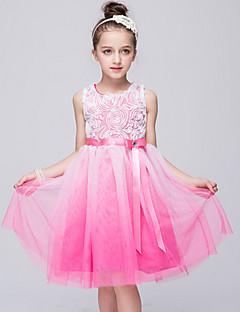 Mädchen Kleid Strand einfarbig Baumwolle Kunstseide Ganzjährig Ärmellos